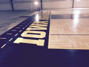 Baseline view of paint at Hawkeye Arena.