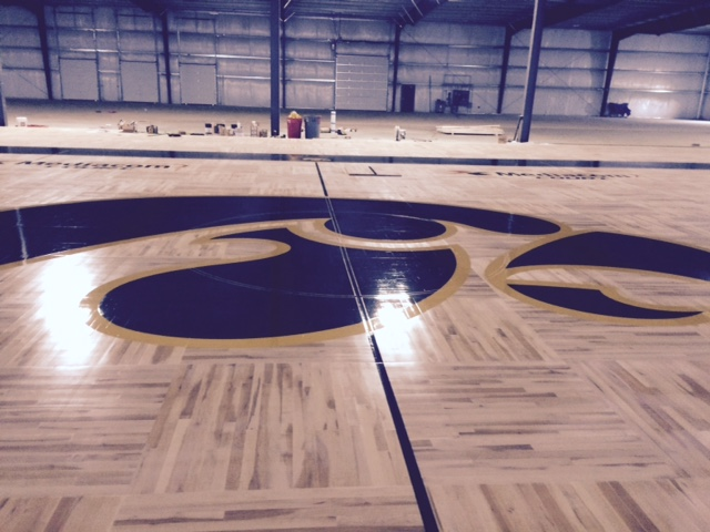 Center court paint at Hawkeye Arena.